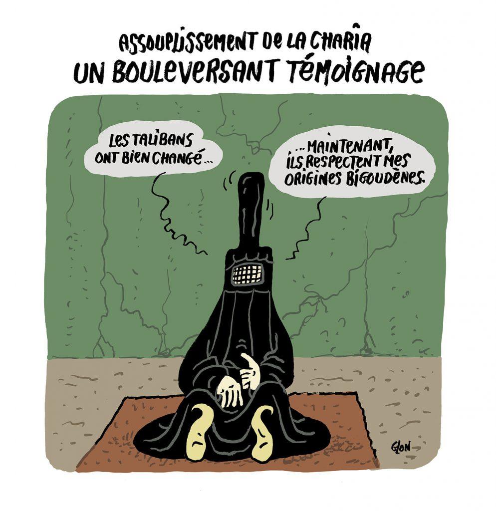 dessin presse humour Afghanistan Talibans image drôle assouplissement Charia