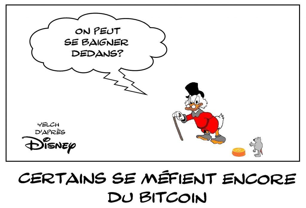 dessins humour Bitcoin méfiance image drôle Picsou bain