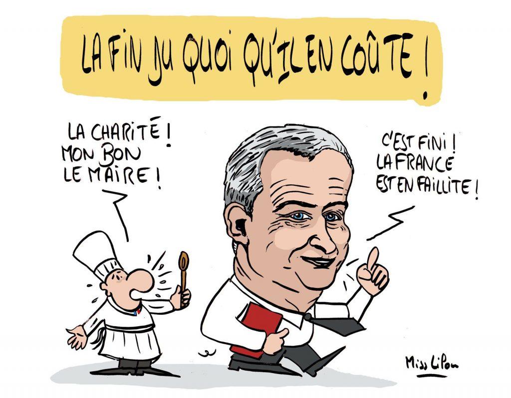 dessin presse humour coronavirus quoi qu'il en coûte image drôle Bruno Le Maire faillite
