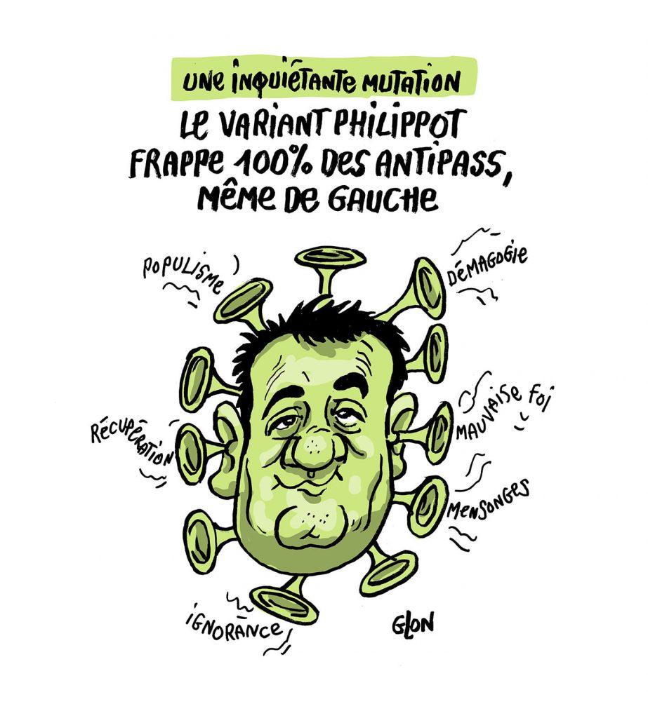 dessin presse humour coronavirus covid 19 pass sanitaire QR code image drôle variant Florian Philippot antipass