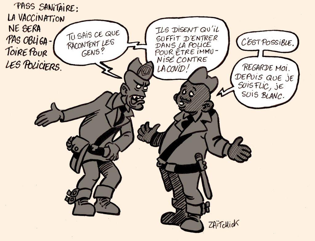 dessins humour coronavirus pass sanitaire image drôle obligation vaccinale policiers
