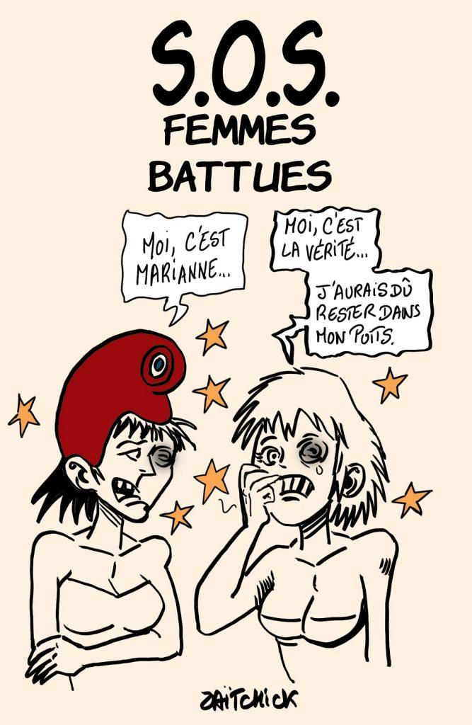 dessins humour Marianne république vérité image drôle violence femmes battues
