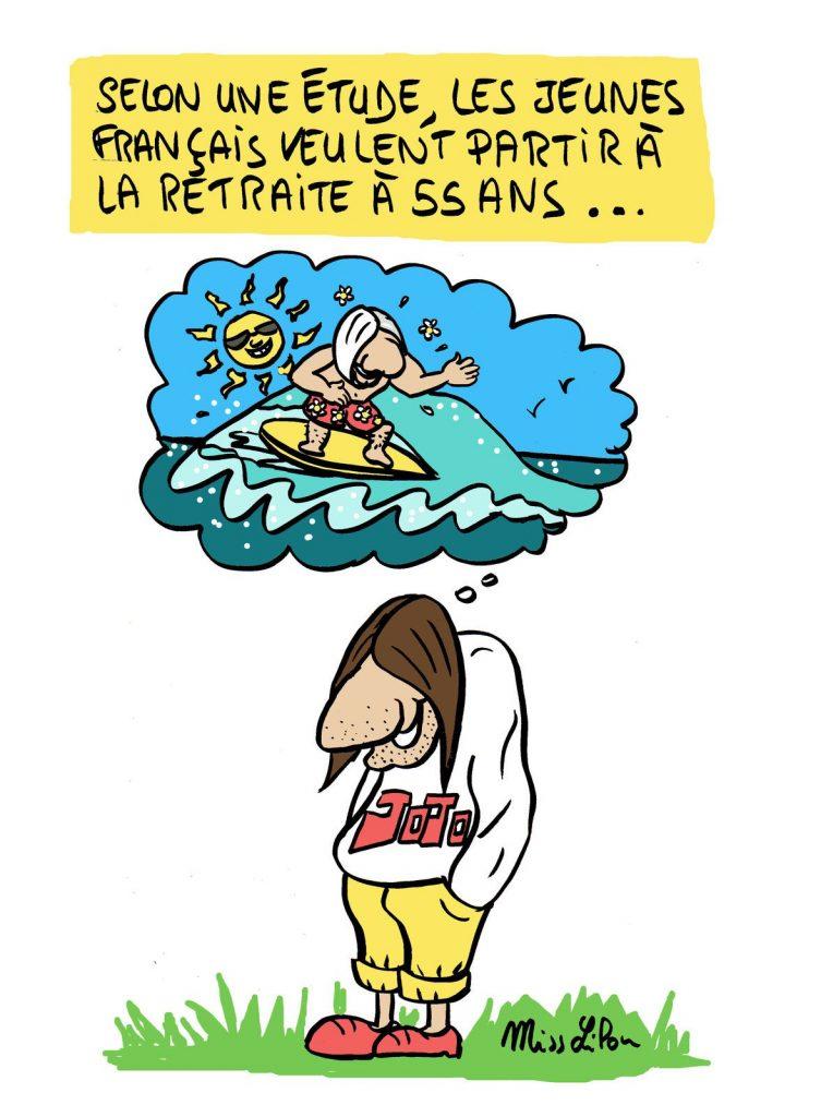 dessin presse humour jeunes français image drôle âge retraite