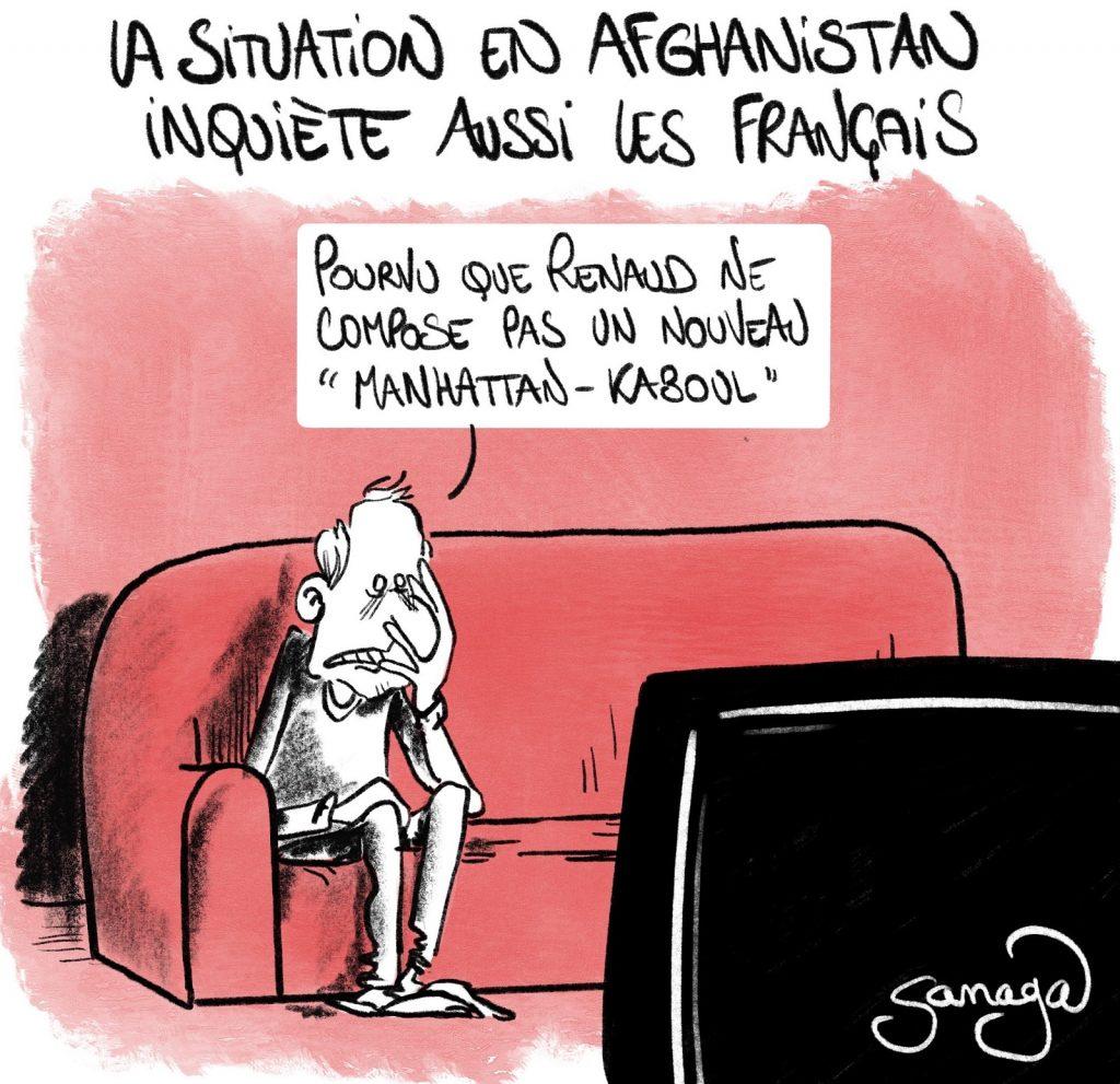 dessin presse humour Afghanistan retour Talibans image drôle inquiétude Français Renaud Manhattan-Kaboul