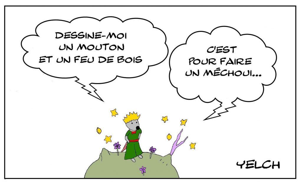 dessins humour Le Petit Prince image drôle dessin mouton feu méchoui