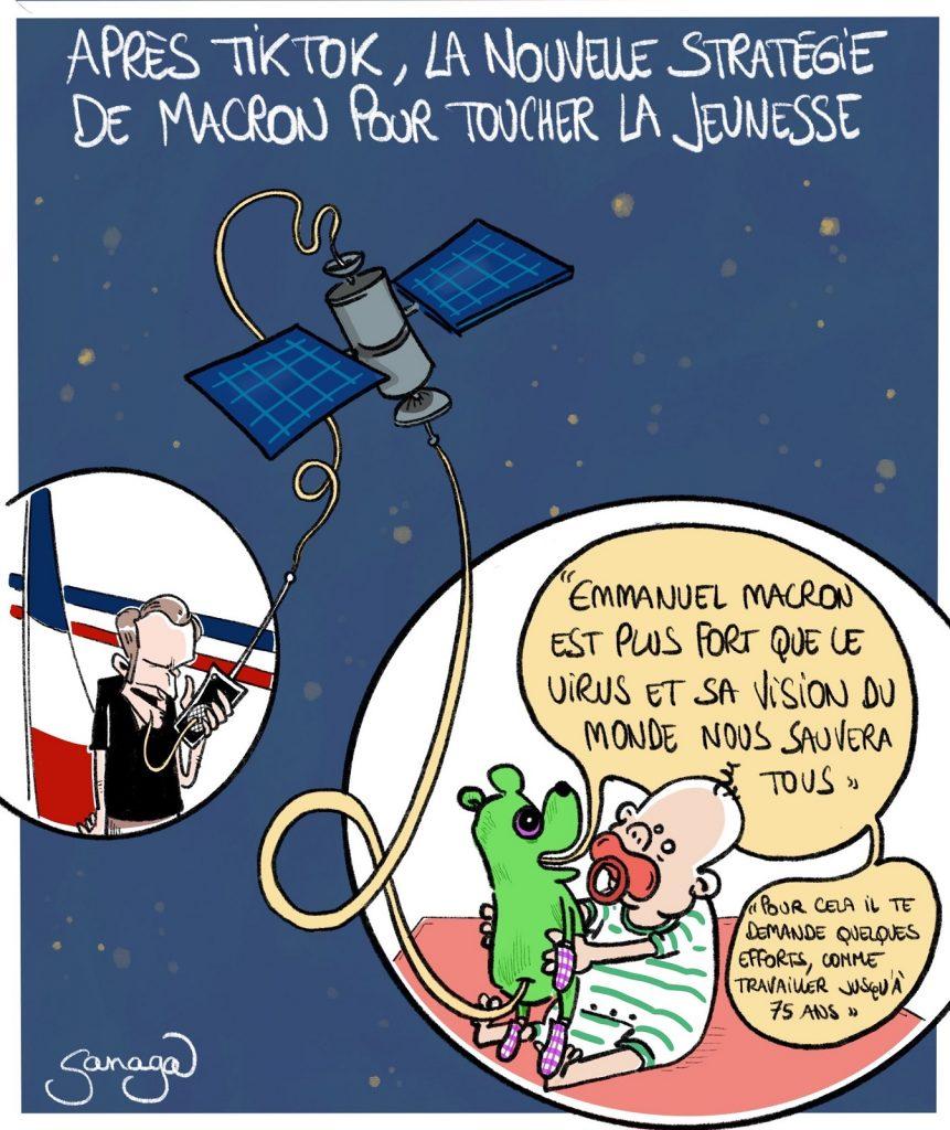 dessin humour politique du jour, dessin d'actualité, Sanaga, blague Emmanuel Macron, blague communication, blague stratégie, blague jeunesse, blague doudou, blague retraite, blague efforts, blague propagande, Emmanuel Macron