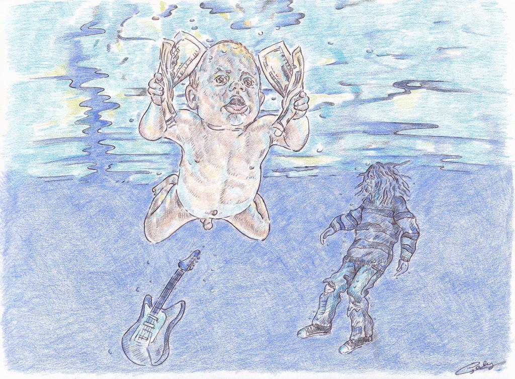 dessin presse humour affaire Spencer Elden image drôle bébé pochette album Nevermind Nirvana
