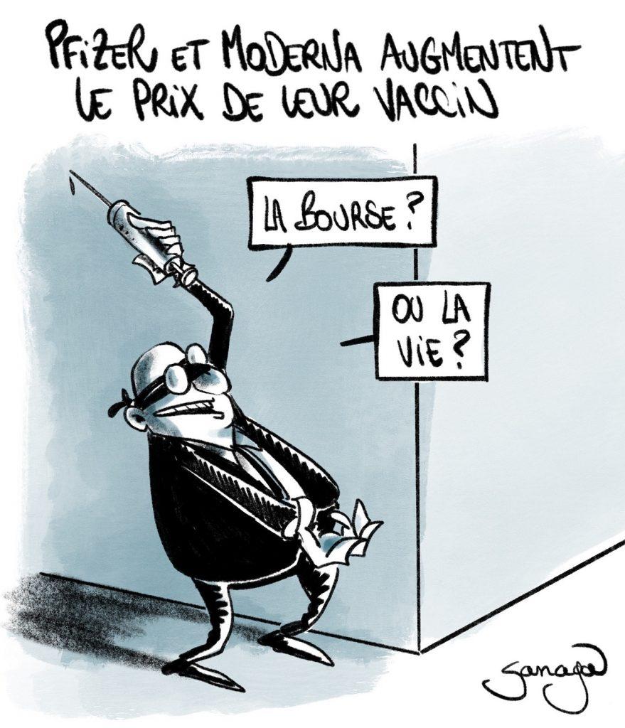 dessin presse humour vaccin coronavirus image drôle Pfizer Moderna augmentation