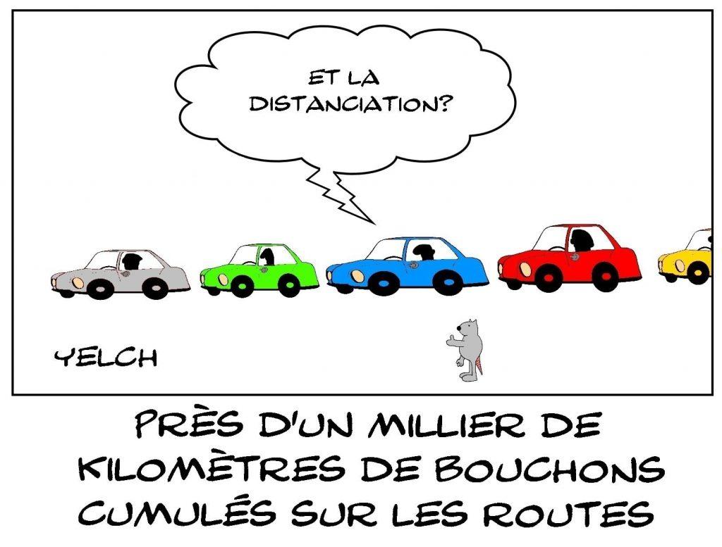 dessins humour vacances automobile image drôle bouchons routiers