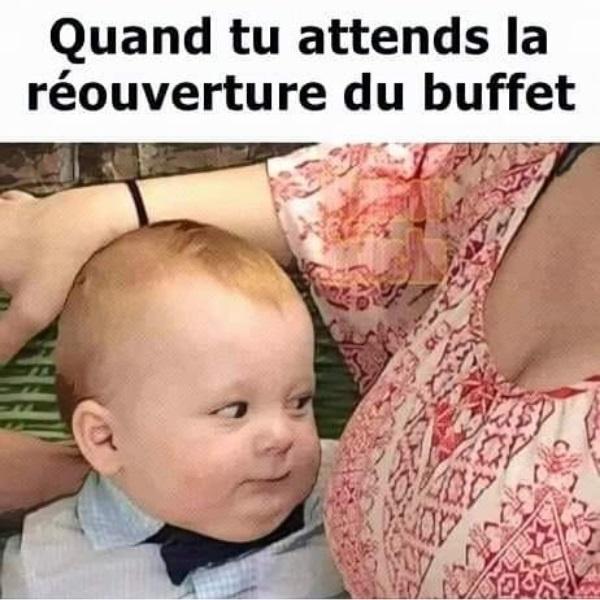 dessin humour attente bébé allaitement image drôle réouverture buffet