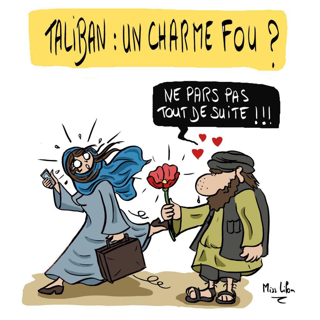 dessin presse humour Afghanistan retour Talibans image drôle charme départ afghanes