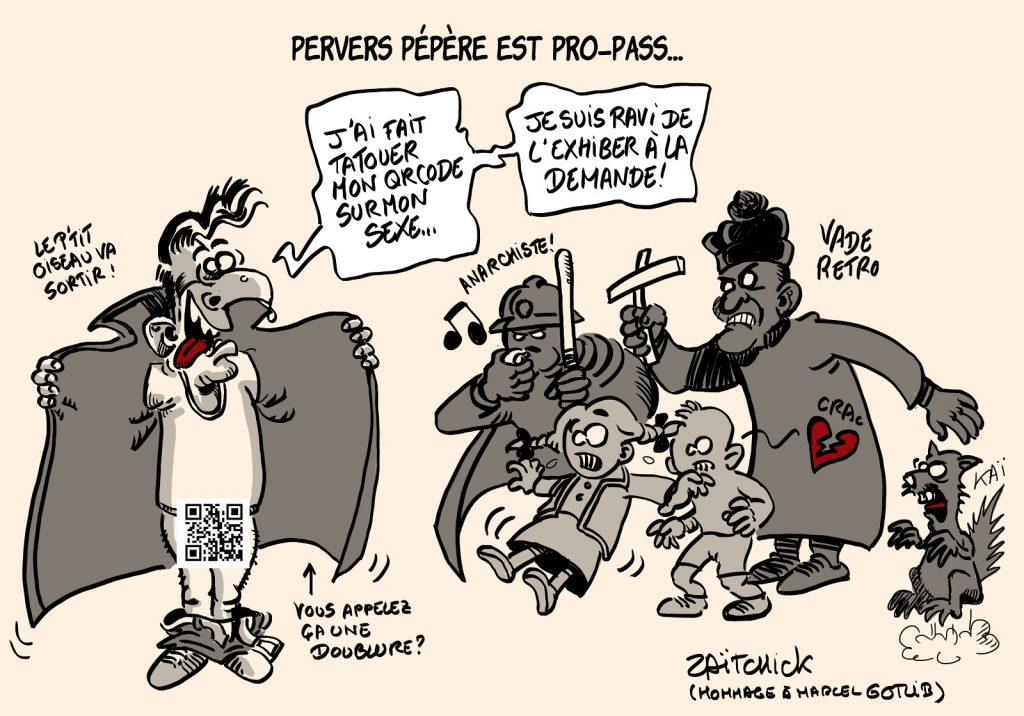dessins humour vaccination coronavirus pass sanitaire image drôle tatouage QR code Pervers Pépère