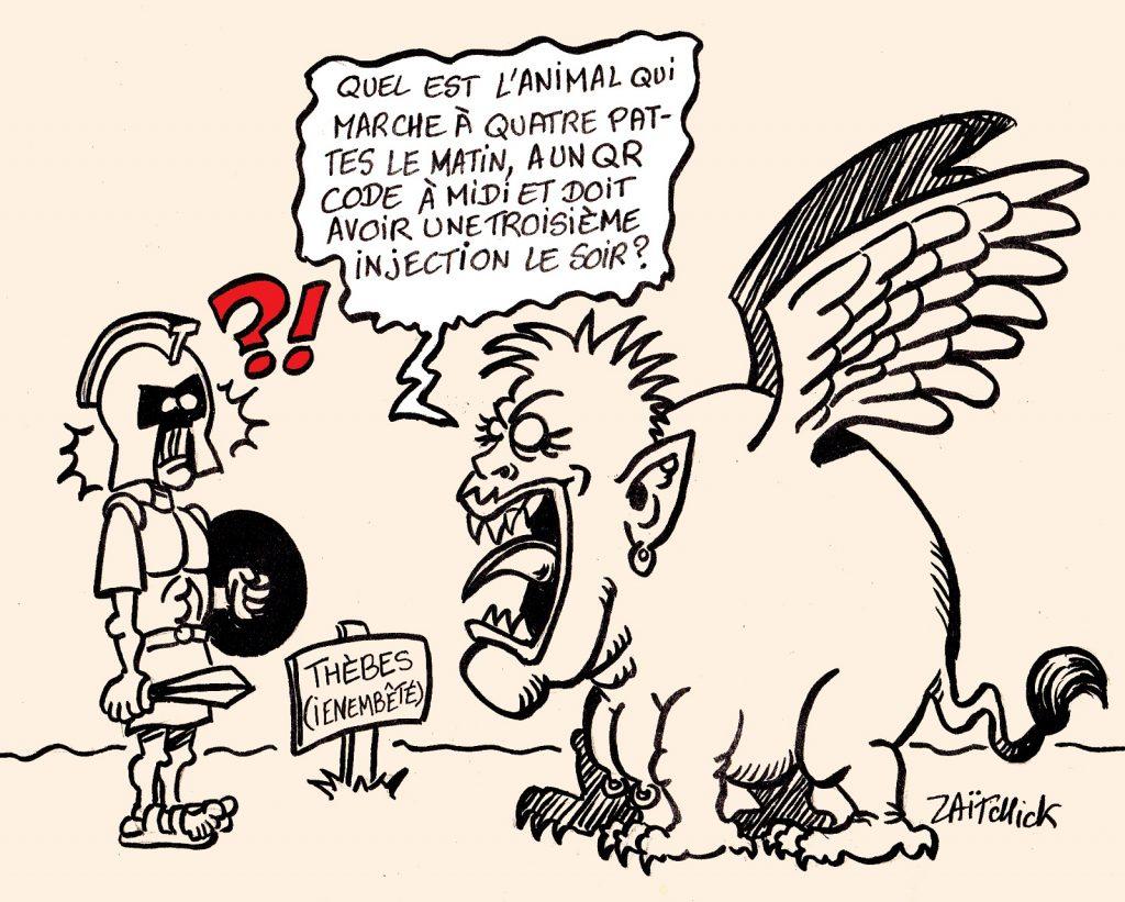 dessins humour coronavirus covid 19 pass sanitaire QR code image drôle Sphinx énigme Thésée