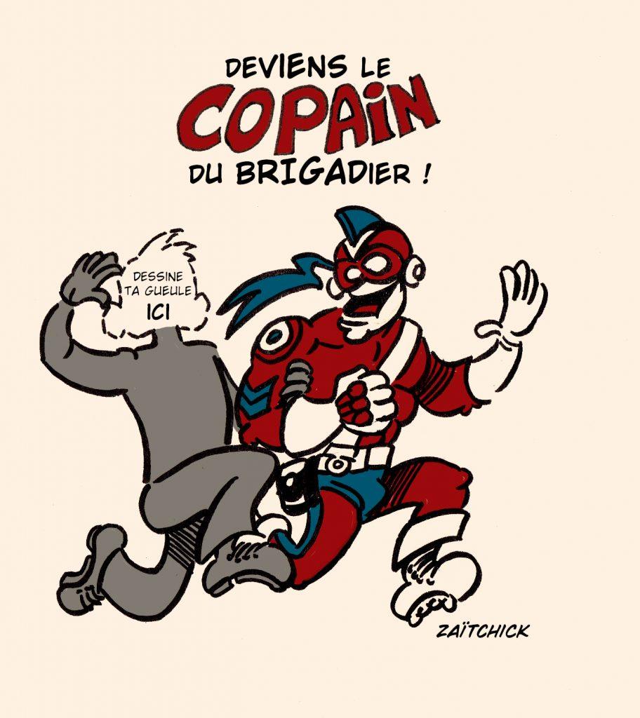 image drôle Le Brigadier cadeau bonus dessin humour copain