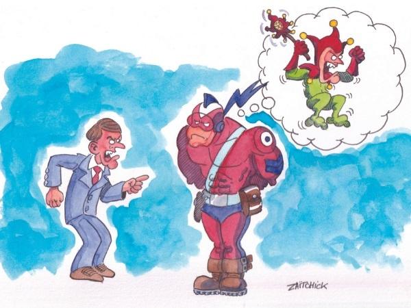 image drôle Le Brigadier Emmanuel Macron dessin humour bouffon bouffonnerie