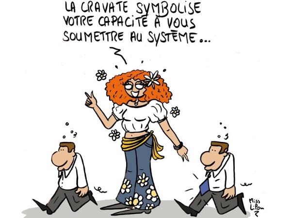 dessin presse humour symbolisme cravate image drôle soumission système