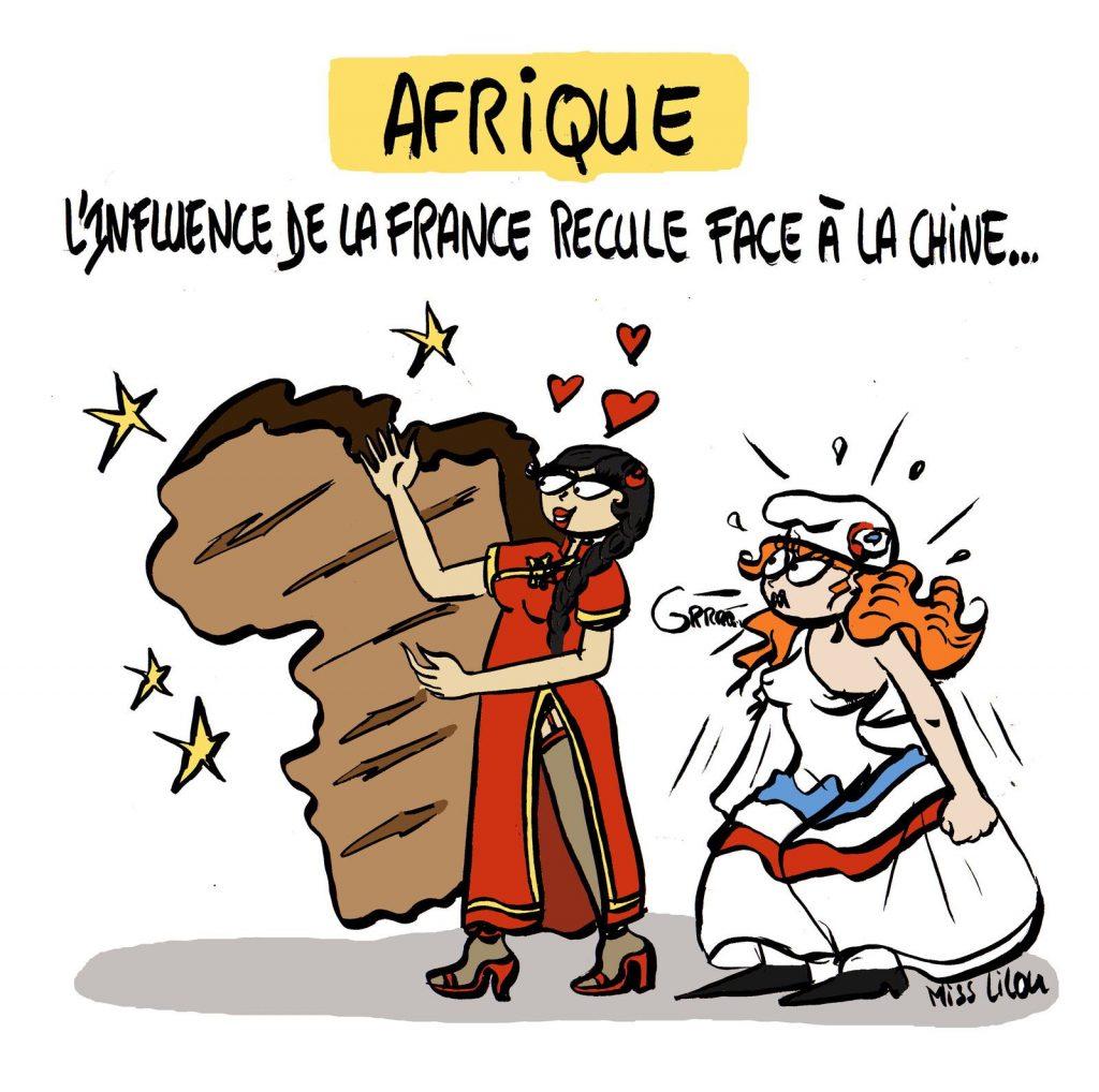dessin presse humour Chine influence image drôle France Afrique