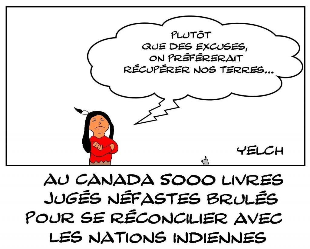 dessins humour Canada livres brûlés image drôle nation indiennes