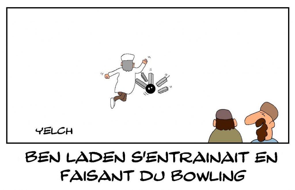 dessins humour Oussama Ben Laden image drôle 11-septembre entraînement bowling