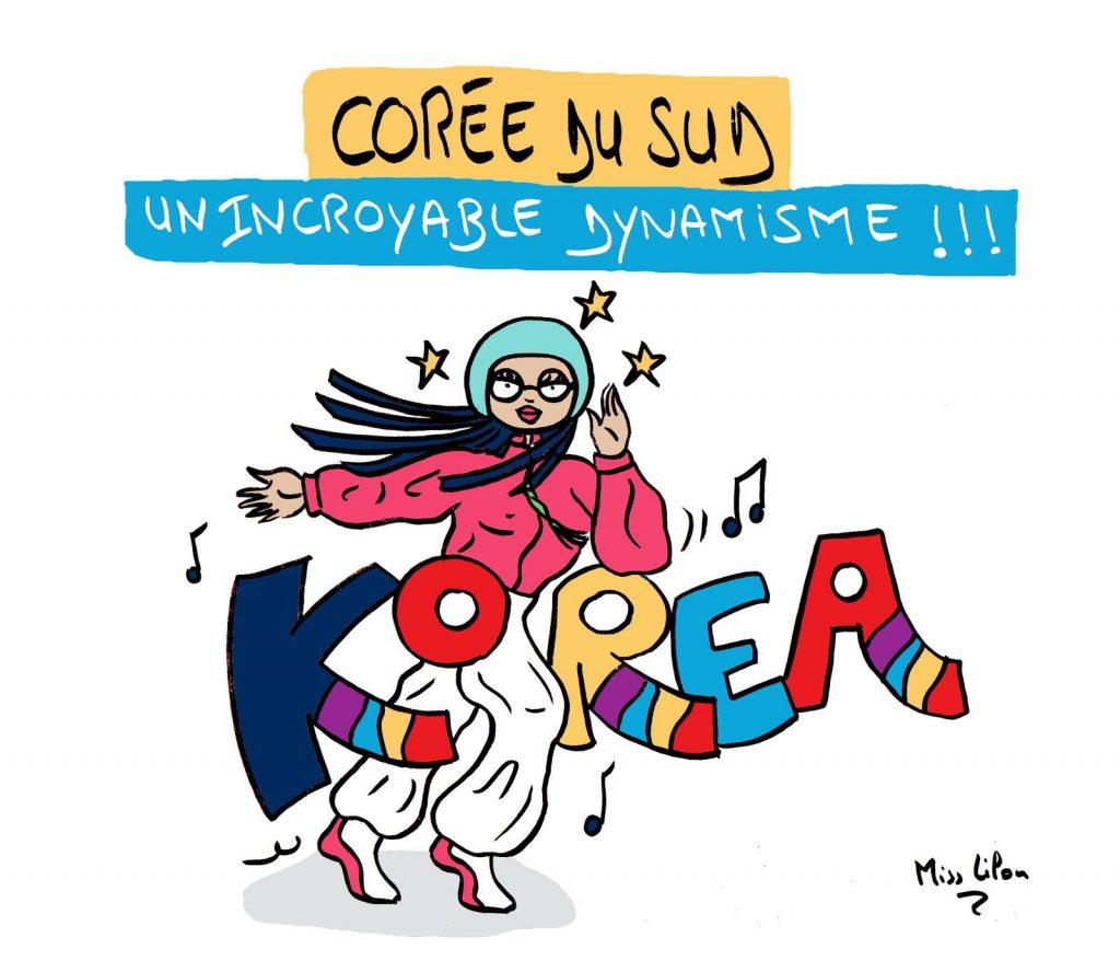 dessin presse humour Corée du Sud image drôle dynamisme