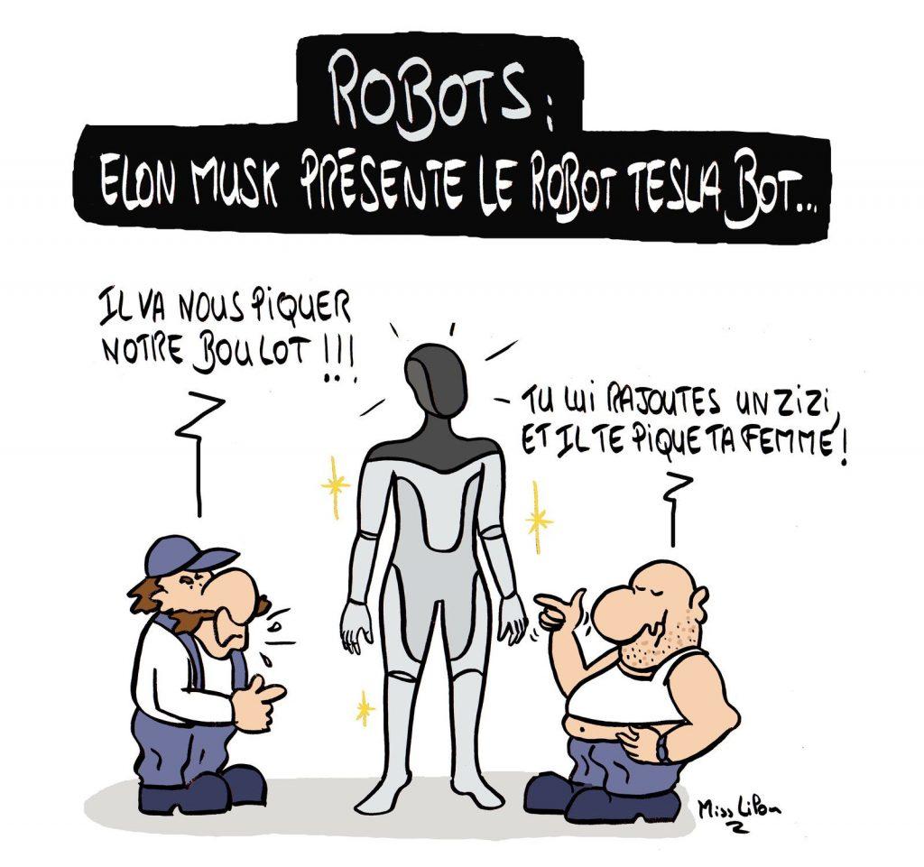 dessin presse humour Elon Musk image drôle robot Tesla Bot