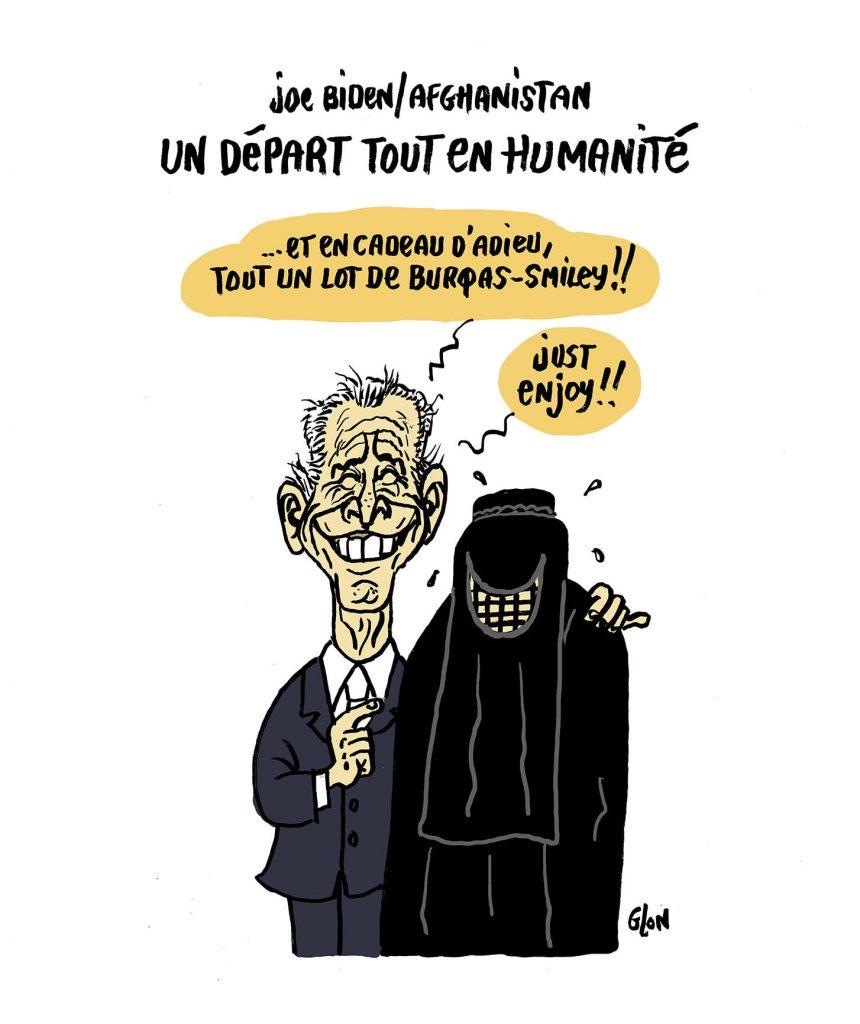 dessin presse humour Afghanistan Joe Biden image drôle burqas