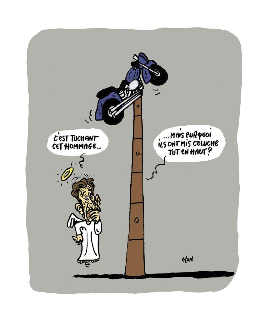 dessin presse humour Johnny Hallyday image drôle statue hommage