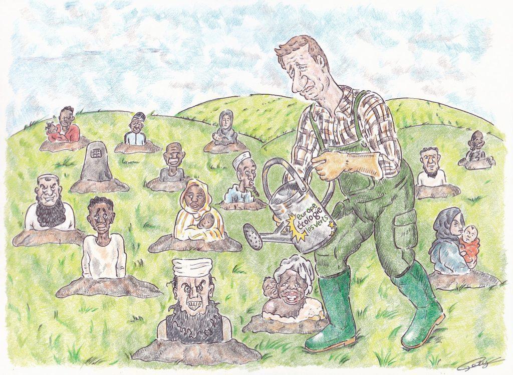 dessin presse humour Yannick Jadot EELV image drôle culture réfugiés
