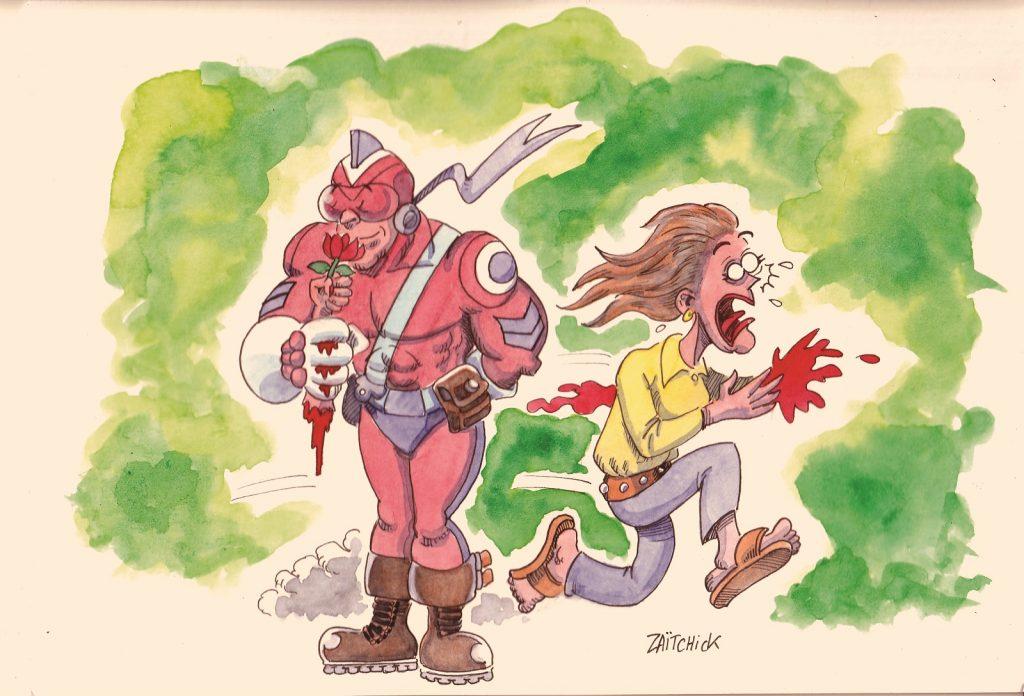 image drôle Le Brigadier sentimental dessin humour fleur bras