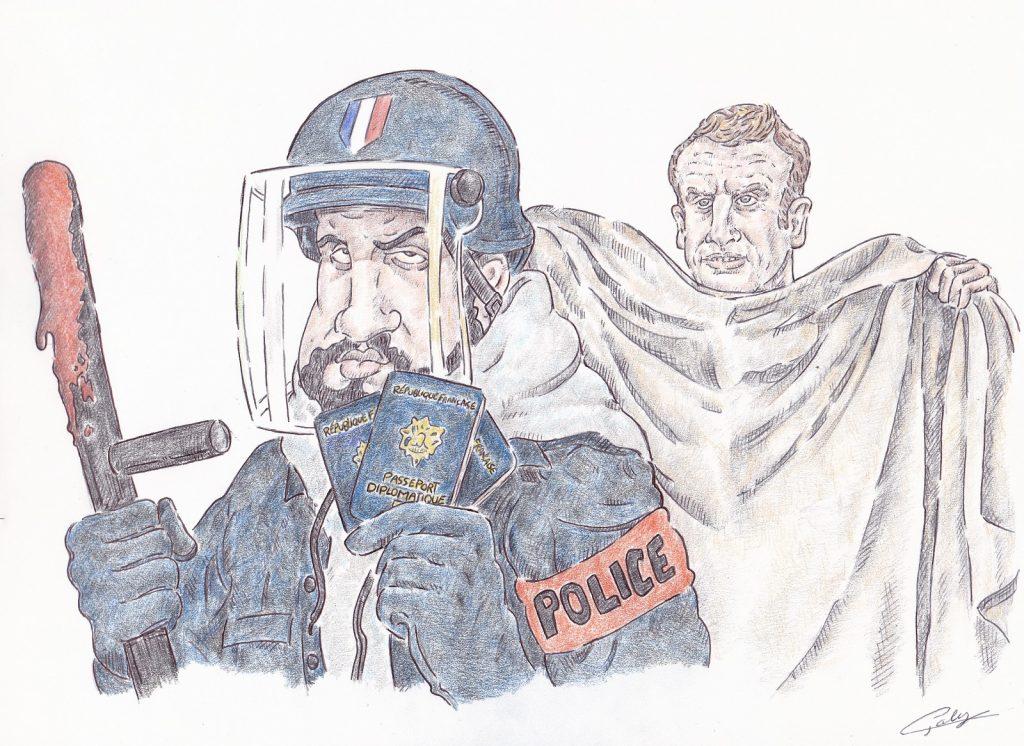 dessin presse humour procès Alexandre Benalla image drôle violence passeports matraque