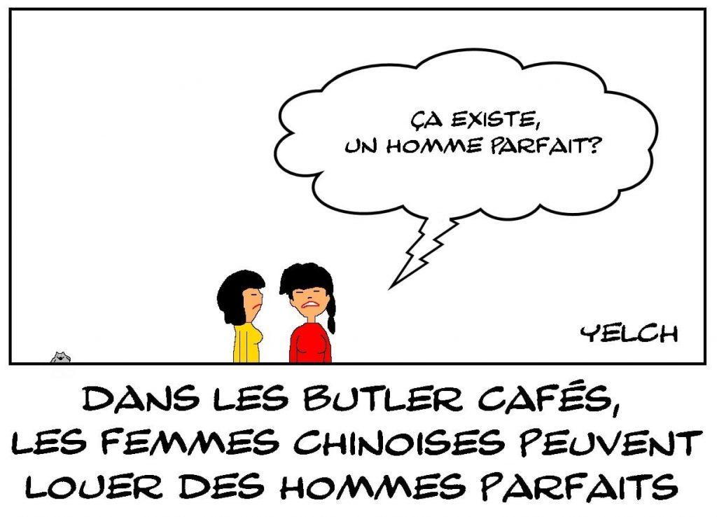 dessins humour Chine butler cafés image drôle location homme parfait
