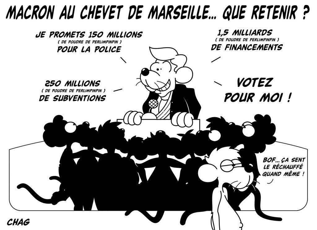 dessin humoristique Visite présidentielle Marseille image drôle Emmanuel Macron