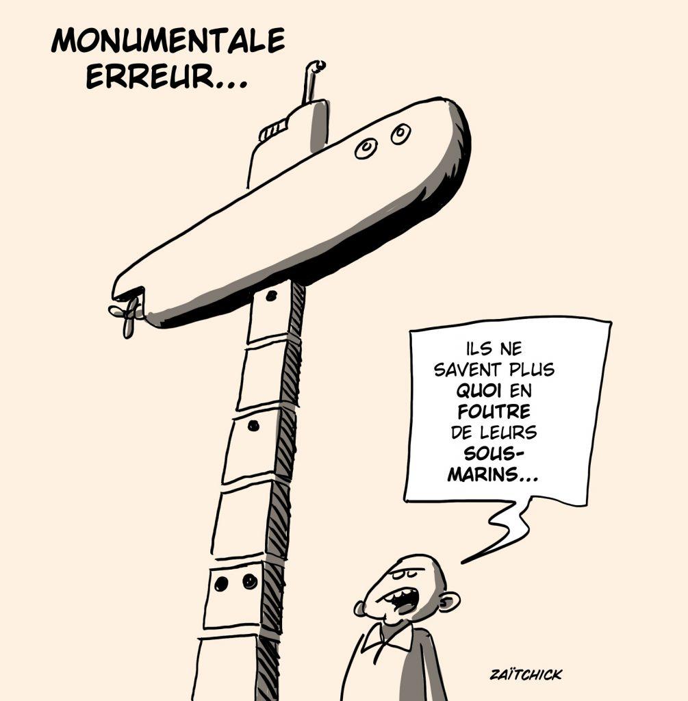 dessin presse humour sous-marins Australie image drôle recyclage monument