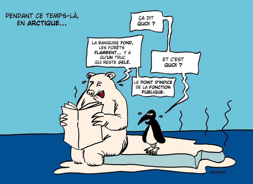 dessin presse humour gel point indice fonction publique image drôle écologie incendies réchauffement