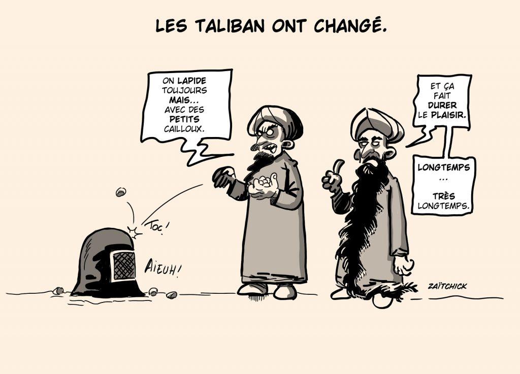 dessin presse humour Afghanistan Talibans changement image drôle lapidation petits cailloux
