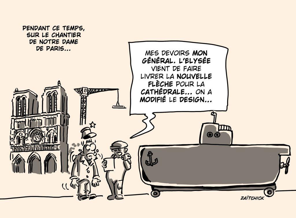 dessin presse humour sous-marins Australie image drôle flèche Notre-Dame de Paris