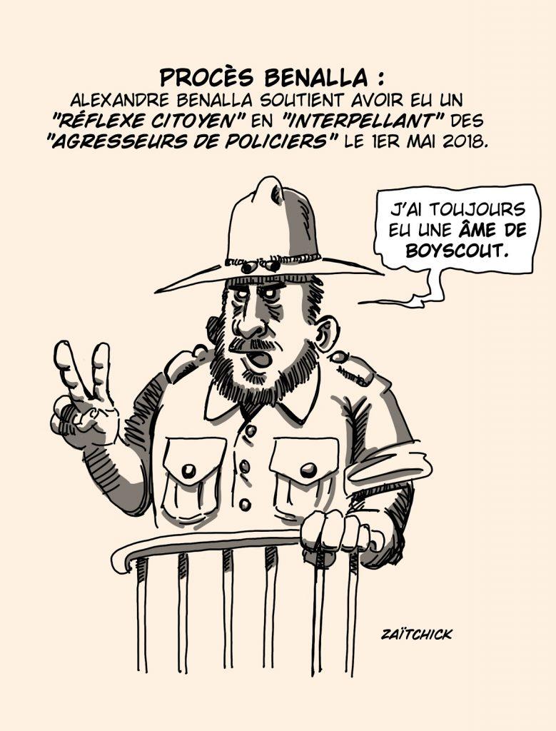 dessin presse humour procès Alexandre Benalla image drôle réflexe citoyen boyscout