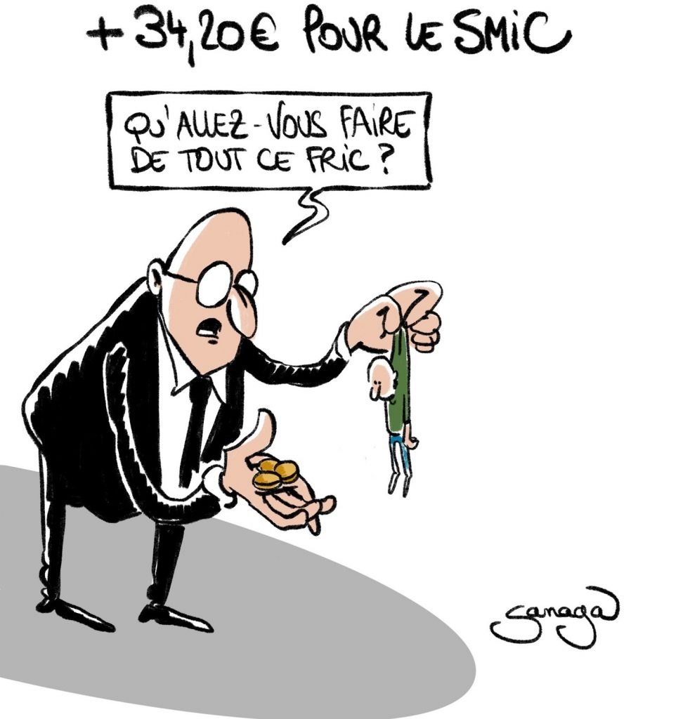 dessin presse humour augmentation SMIC image drôle argent fric smicard