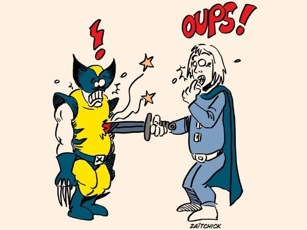 dessin presse humour Serval Wolverine image drôle Kaamelott Perceval