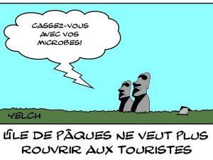dessins humour tourisme image drôle île Pâques