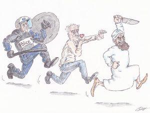 dessin presse humour Philippe Poutou image drôle islamisme police tue
