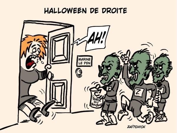 dessin presse humour Halloween Éric Zemmour image drôle Marine Le Pen