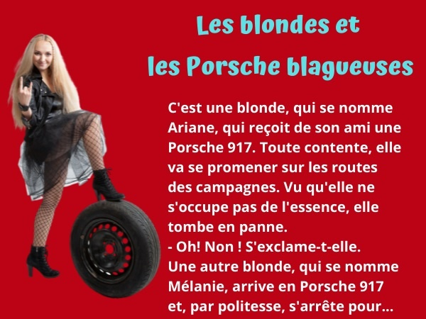 blague Porsche 917, blague moteur, blague vol, blague coffre, blague capot, blague rechange, humour drôle