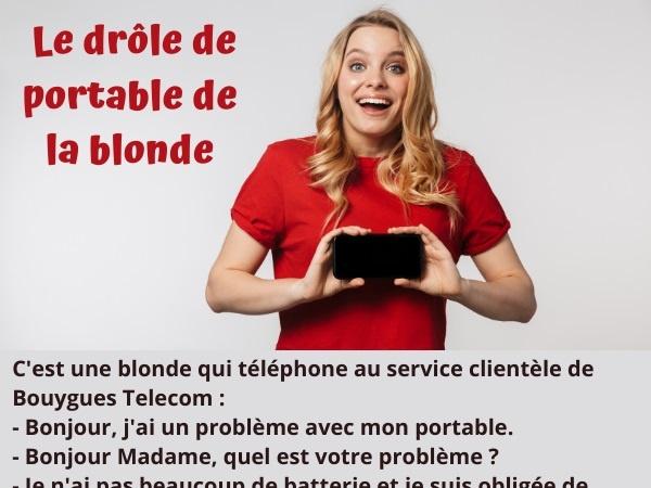 blague blonde, blague téléphonie, blague portable, blague batterie, blague rechargement, blague appel, humour drôle
