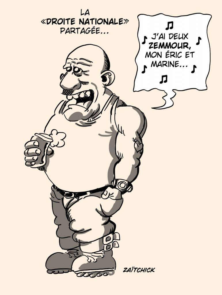 dessin presse humour Éric Zemmour droite nationale image drôle Marine Le Pen présidentielle 2022