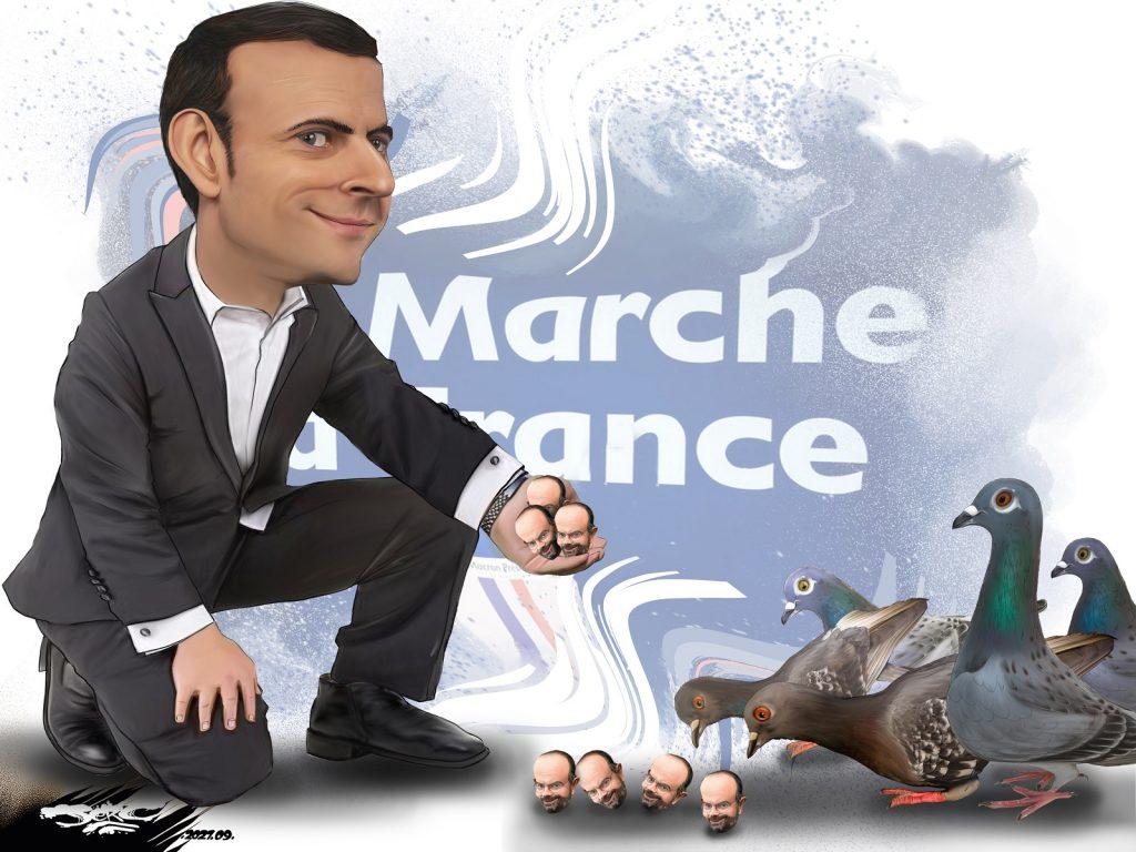 dessin presse humour Emmanuel Macron image drôle électeurs droite