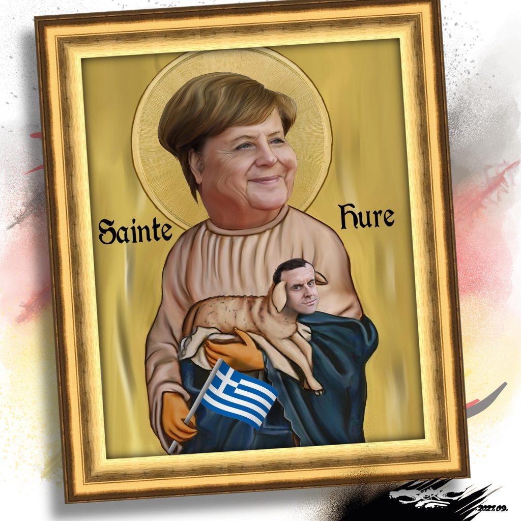 dessin presse humour Angela Merkel image drôle Allemagne départ