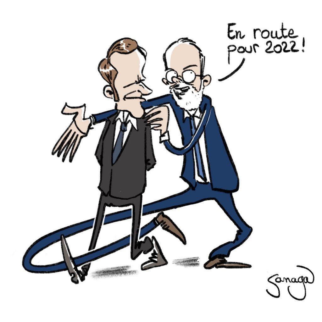 dessin presse humour Emmanuel Macron présidentielle 2022 image drôle Édouard Philippe