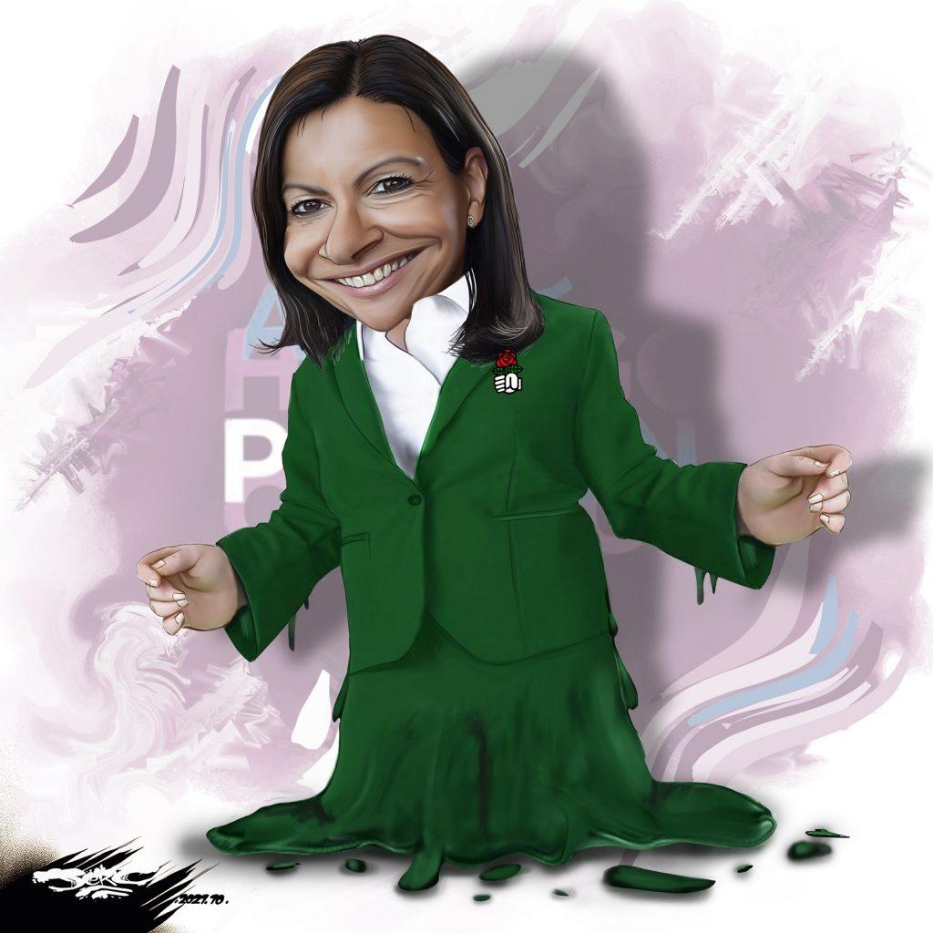 dessin presse humour Anne Hidalgo image drôle effondrement présidentielle 2022