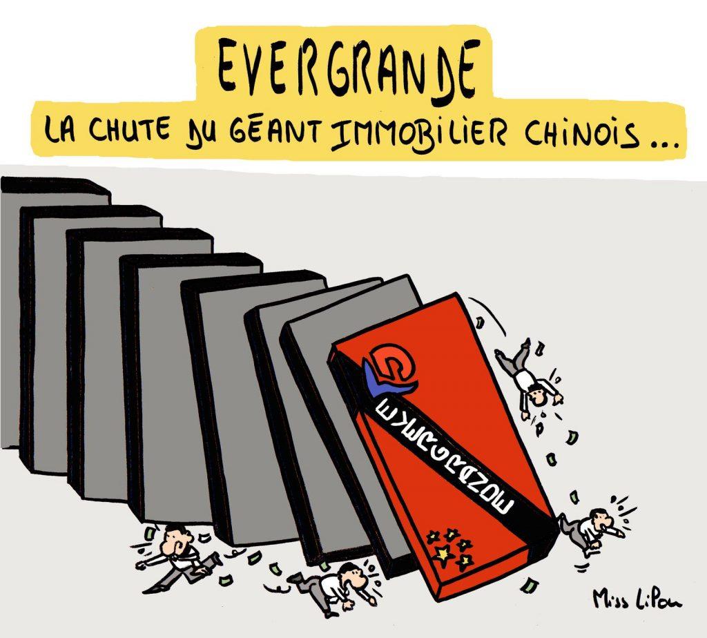 dessin presse humour Chine Evergrande image drôle chute immobilier chinois